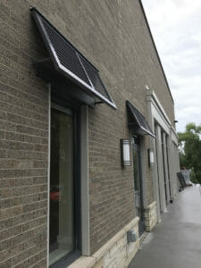 Close up of metal shutter awning in Twin Cities