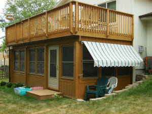Adjustable awning off sun porch in Minneapolis
