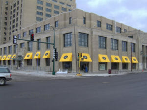 Awnings make this Minneapolis building stand out