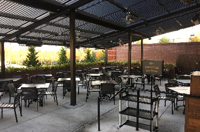 Commercial use of a motorized louvered roof