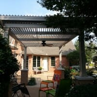 Louvered roof in the open position
